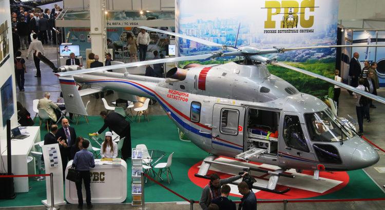 """Вертолет """"Ансат"""" на стенде компании АО """"Русские Вертолетные Системы"""", выставка Helirussia"""